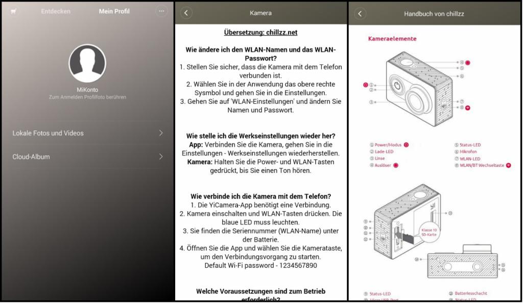 Xiaomi Yi WIFI App Deutsch MMonkey