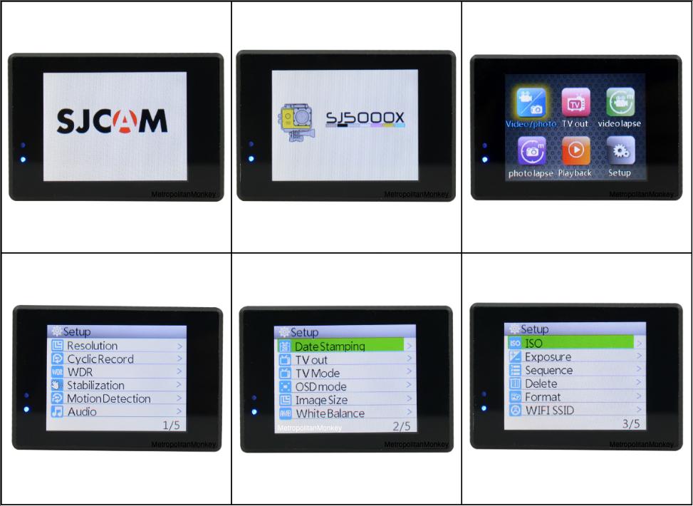 SJCAM SJ5000X 2K Elite 4K Action Cam UI Menu