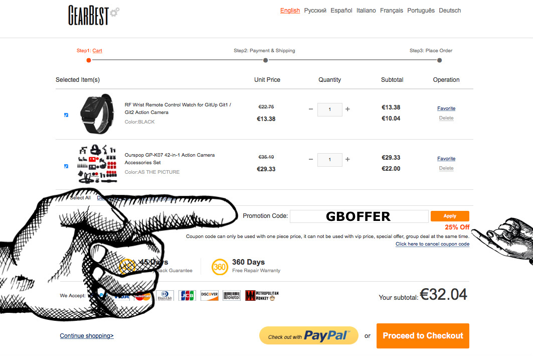 25% gearbest action cam coupon code gutschein metropolitanmonkey.com