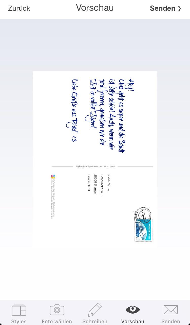 Ausgezeichnet Postkarte Vorlage Für Studenten Galerie - Beispiel ...